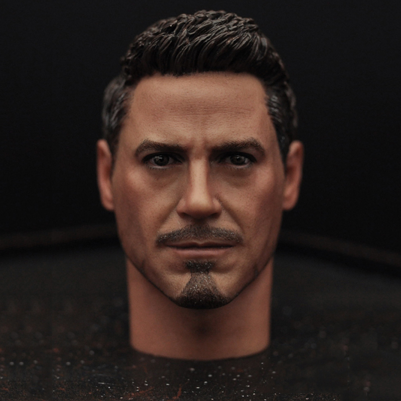 1/6 scale Male Head Sculpts Model Toys Downey Jr. Iron Man 3 Captain America Civil War Tony With Neck Sets MK45 Model Collecti F 1 6 scale male head sculpts model toys downey jr iron man 3 captain america civil war tony with neck sets mk45 model collecti f