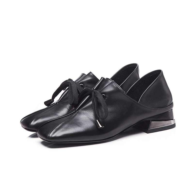 Preppy Orteil Red Faible Casual Pompes Chaussures 2019 Classique Noir Cuir Taille Grande Vintage Style Carré L86 Véritable Campus En orange Talons Souple chocolat Lacent lFT1KJc