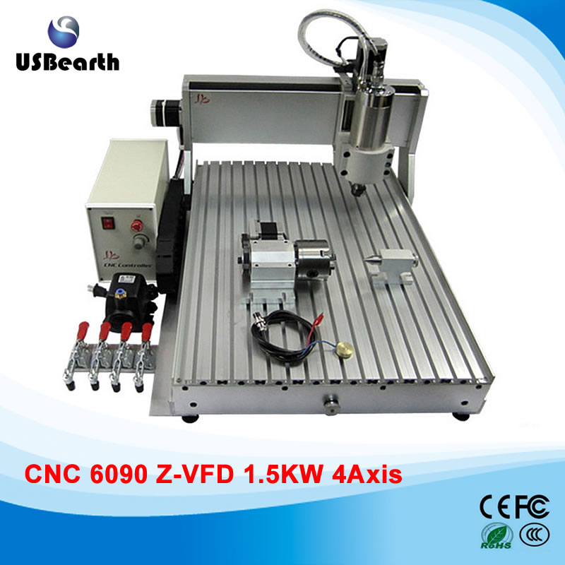 LY CNC Engraving Machine 6090 Z-VFD 1.5KW 4 Axes Drilling Router for hard metal, no custom duty to Russia ly cnc router 6090 l 1 5kw 4 axis linear guide rail cnc engraving machine for woodworking
