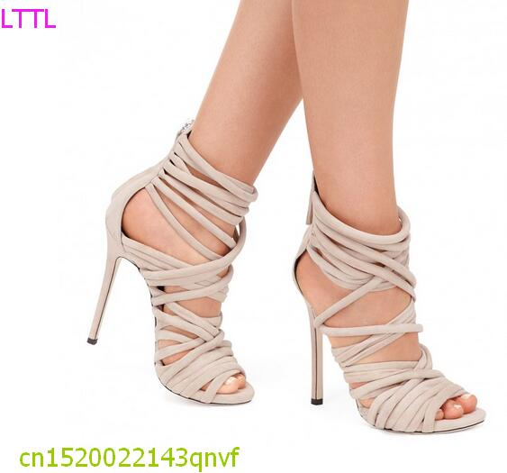 ФОТО New fashion open toe sexy sandal cut-out ankle strap high heel sandal woman gladiator sandal 2017 summer shoes beige