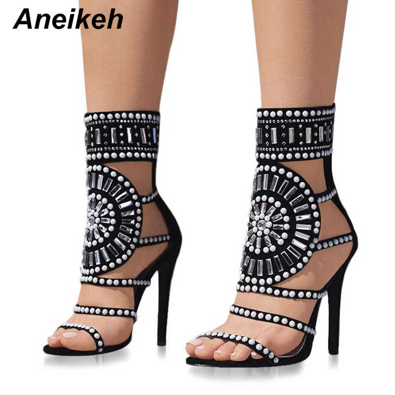 9b2cdb70bf3aa Aneikeh Women Fashion Open Toe Rhinestone Design High Heel Sandals Crystal  Ankle Wrap Glitter Diamond Gladiator