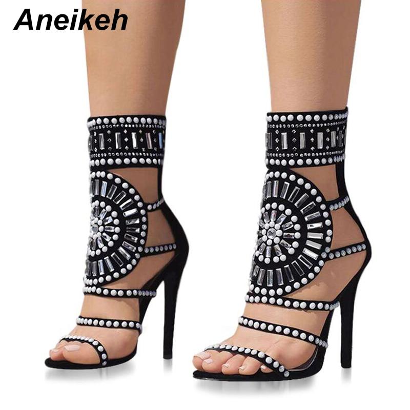 Aneikeh Women Fashion Open Toe Rhinestone Design High Heel Sandals Crystal Ankle Wrap Glitter Diamond Gladiator Black Size 35-40 rhinestone design toe post sandals