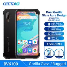 Blackview BV6100 3GB + 16GB z systemem Android 9 0 5580mAh 6 88 Gorilla ekran Wytrzymały smartfon IP68 wodoodporny telefon komórkowy telefon komórkowy z NFC tanie tanio Nie odpinany Inne Nowy 640x1136 Nonsupport Rozpoznawania linii papilarnych Rozpoznawania twarzy 2 karty SIM Typu C Smartfony