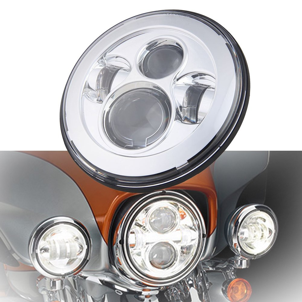 7 Inch Motorcycle Projector Daymaker 4 LED Light Bulb Headlight For Harley