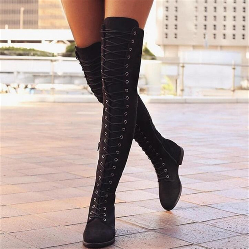 2019 Women Lace up Gladiator Boots Over the Knee Flat Botas Winter Motorcycle Boots Chaussures Femme Plus Size 35 43
