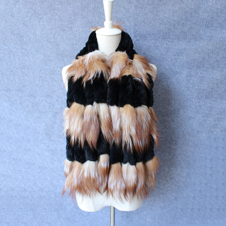 2017 New Women Genuine knitted Fox Fur scarf Real rex rabbit Fur collar Winter Warm Neck Warmers stole silver fox free shipping