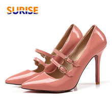 Big Size 10cm High Thin Heel Casual Women Pumps Pointed Toe Patent Leather Party Office Buckle Strap Red Lady Mary Jane Stiletto sexy patent leather extreme high heel shoes for women big size 44 45 46 49 buckle strap pumps red stilettos for party wedding
