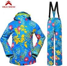 Wild Snow Waterproof Sportwear Female Ski Suit Women Winter Ski Wear Top Jacket Strap Pants Snow Jacket and Pants