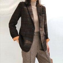 3af20afad1 Mulher terno de lã Xadrez Feminino Outono inverno mulher Do Vintage terno  xadrez casaco de lã Terno Xadrez Fino Blazer jaqueta c.