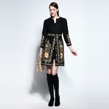 Runway Noble 2016 Autumn&Winter Gold Flower Embroidery Long-sleeve Covered Button Sashes Wool Slim Coat Outerwear