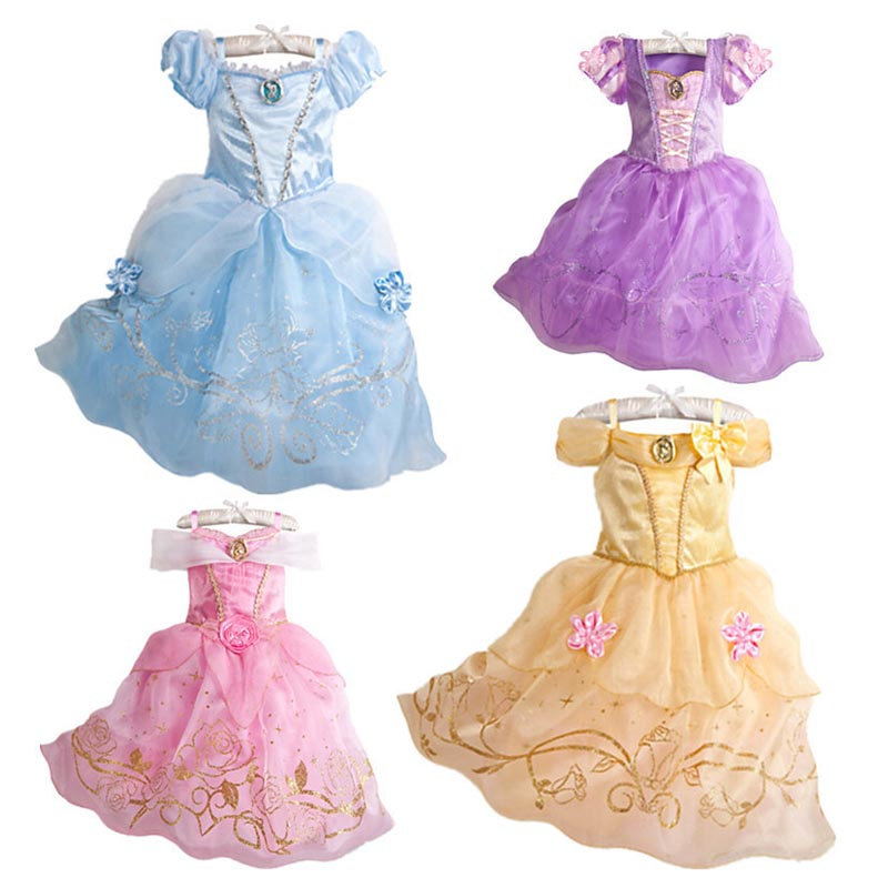 Girls Dresses Princess Belle Snow White Dress Children Party Fairy Tales Cosplay Costume Children Stage Fantasy Show Clothes image