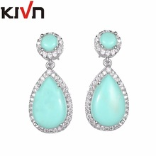 KIVN Fashion Jewelry Classic Drop Dangle Womens Girls Blue Stone Bridal Wedding Earrings Promotion Christmas Birthday Gifts