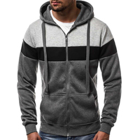 Fashion Men's Hoodie Thick Jacket Jumper Pullover Zipper Casual Patchwork Hooded YA87