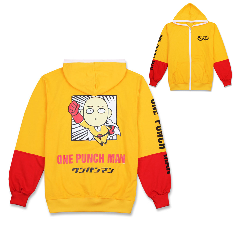 Anime ONE PUNCH MAN Saitama Oppai Hoodie Cosplay Costume Yellow Hooded Cardigan Sweatshirt Jacket Daily Casual Fleece