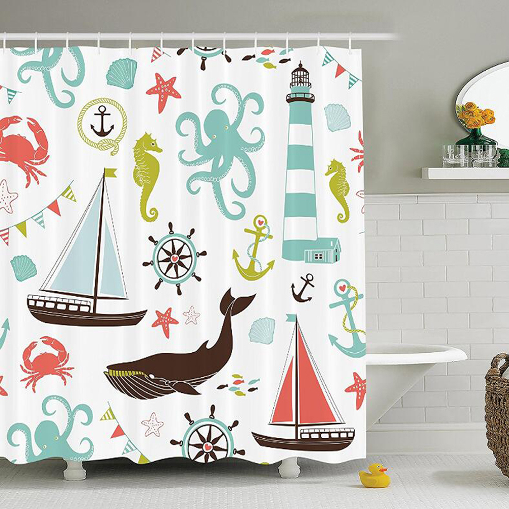 Fabric Shower Curtain, Whale Shark Seahorse Sea Creatures Rope and Anchor Octopus Coral Crab Marine Lighthouse Ocean Theme Home