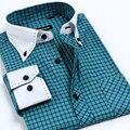 Free shipping 2017 New Spring Autumn plaid long sleeve shirt slim fashion business shirt