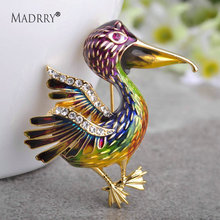 Madrry Colorful Enamel Large Bird Brooches For Women Gold Color Badge Pins And Brooches Dress Hijab Pin Boutonniere Party Joyas