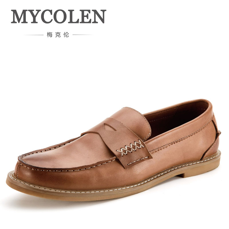 MYCOLENS Genuine Leather Mens Brown Loafers Luxury Brand Top Men'S Casual Shoes Slip On Boat Shoes For Men Boat Shoes Men mycolen mens loafers genuine leather italian luxury crocodile pattern autumn shoes men slip on casual business shoes for male