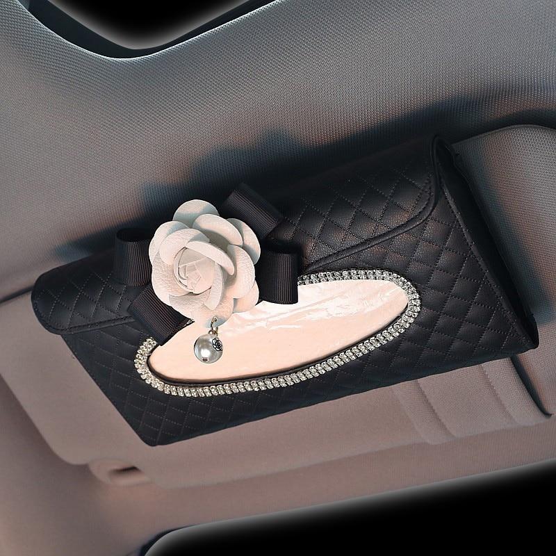 Linda flor de cristal caja del tejido del coche visera de cuero Auto - Accesorios de interior de coche - foto 2