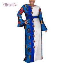 Fashion Petal Sleeve African Dresses for Women Autumn Elegant Long Lace Dress Print Maxi Private Custom Plus Size WY4081