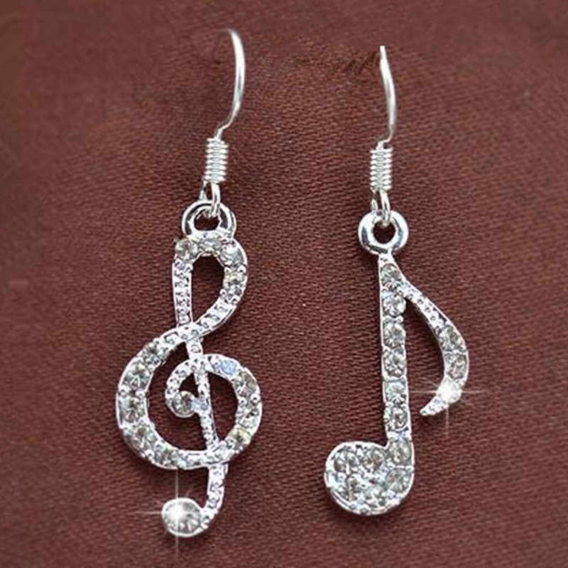 New Personality Geometric Music Dream Symbol Asymmetric Earrings Music Notes Ear Hook Crystal Silver Color Earrings for Women