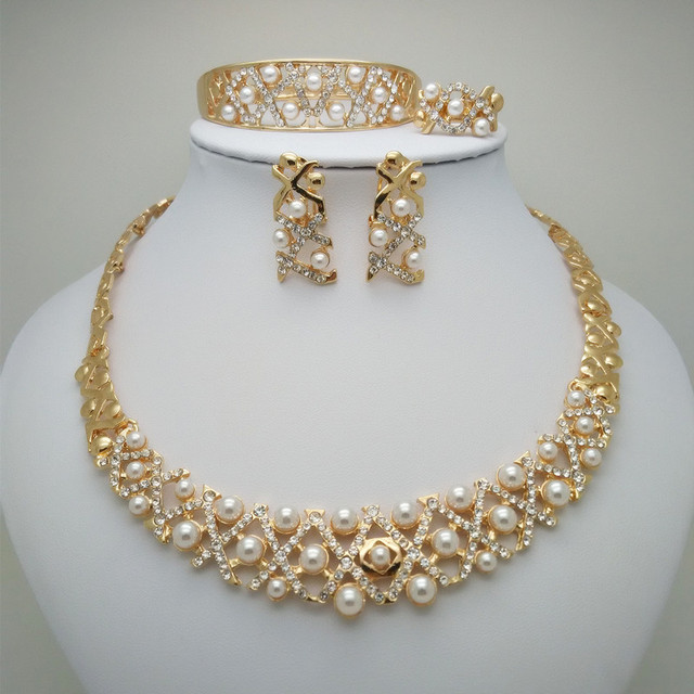 Kingdom Ma African Beads Pearl High-quality Jewelry Set Gold Color Rhinestone Necklace Wedding Engagement Jewelry Sets for Women