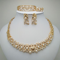 Kingdom Ma African Beads Pearl High quality Jewelry Set Gold Color Rhinestone Necklace Wedding Engagement Jewelry Sets for Women