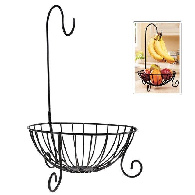 Topnotch Nowość kuchnia metalowy kosz na owoce z odpinanym banan wieszak do TB71