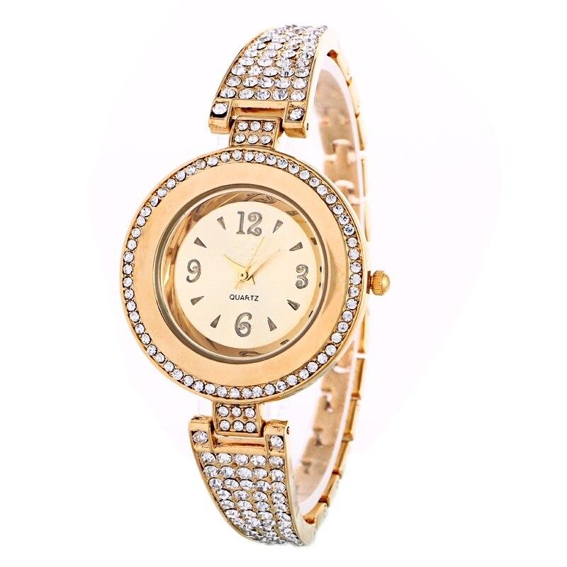 Nuevo metal de alta calidad reloj mujeres impermeable cristal redondo pulsera  de oro pulsera de moda de lujo reloj de la marca c3785dc09ed8