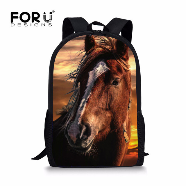 5fcc83afe06 FORUDESIGNS 2018 Trend Children School Bags Handsome Horse Sun Schoolbags for  Teenagers Boys Primary School Backpack Sac enfant