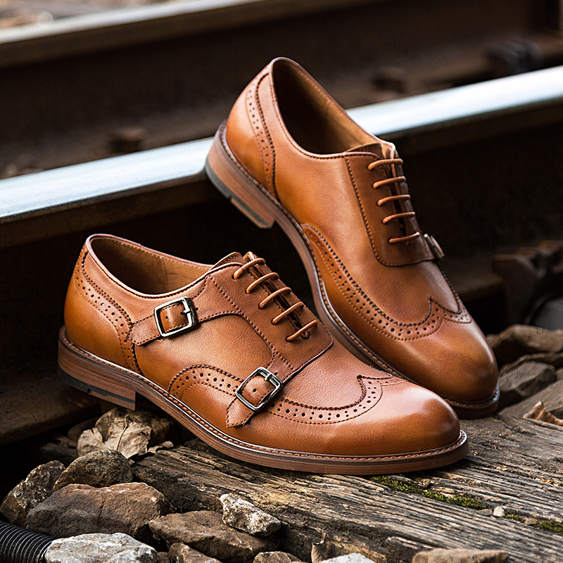 Brand Genuine Leather Business Men Dress Shoes High Quality Retro Double Monk Strap Oxford Shoes For Men Brogue Shoes in Formal Shoes from Shoes