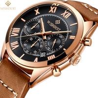 WISHDOIT Men S Watch Top Luxury Brand Business Mens Quartz Watches High Quality Leather Casual Fashion
