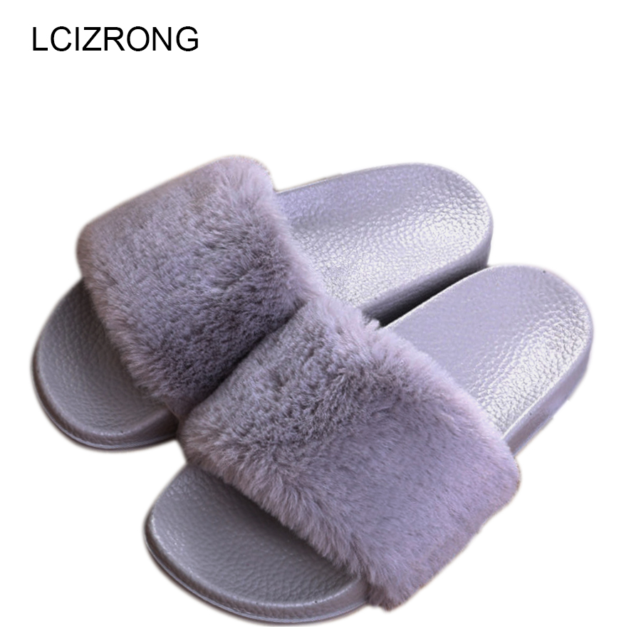 LCIZRONG Faux Fur Slippers Women Beach Summer Plush Shoes Home Slippers Funny Womens Slides Indoor Chinelo House Chaussure Femme designer fluffy fur women winter slippers female plush home slides indoor casual shoes chaussure femme