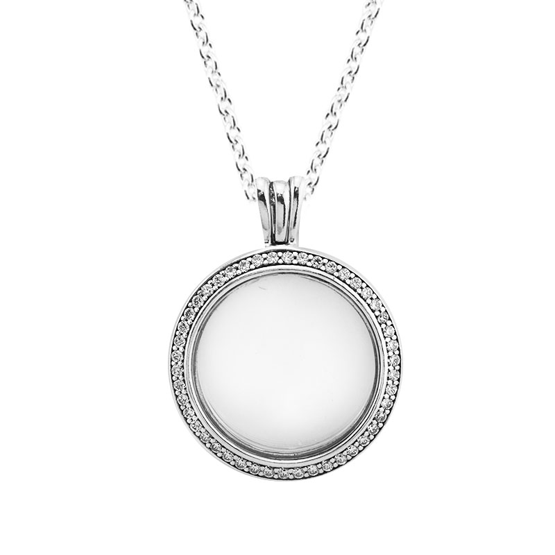 Clear CZ Crystal Medium Size Round Glass Floating Locket Necklaces for Women DIY Silver 925 Jewelry