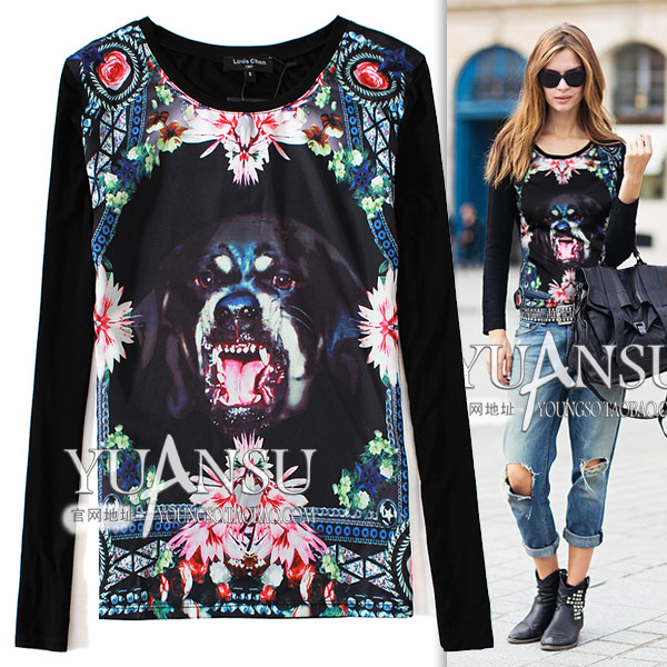 Yuansu Fashion Limited Famous Dog Animal Printing 2014 European And American Street New Style
