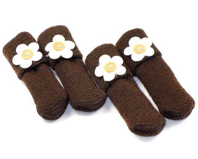 16 Pcs/lot Chair Leg Socks Cloth Gloves For Chair Protect Floor Knit Flower  Leg
