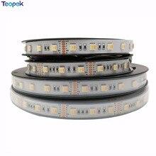 Bande flexible 5 en 1 RGB + CCT LED, 5050, 60led/mètre, 12v 24 volts, puces CW + RGB + WW