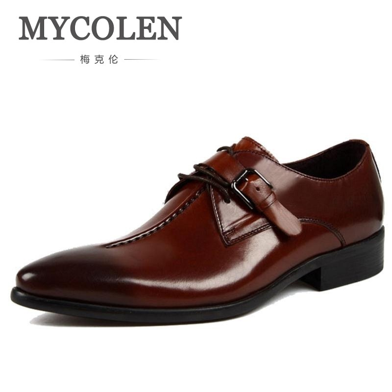 MYCOLEN Men Shoes Casual Luxury Brand Genuine Leather Formal Dress Double Buckle Straps Wedding Brogues Shoes Zapatos Hombre new fashion men luxury brand casual shoes men non slip breathable genuine leather casual shoes ankle boots zapatos hombre 3s88