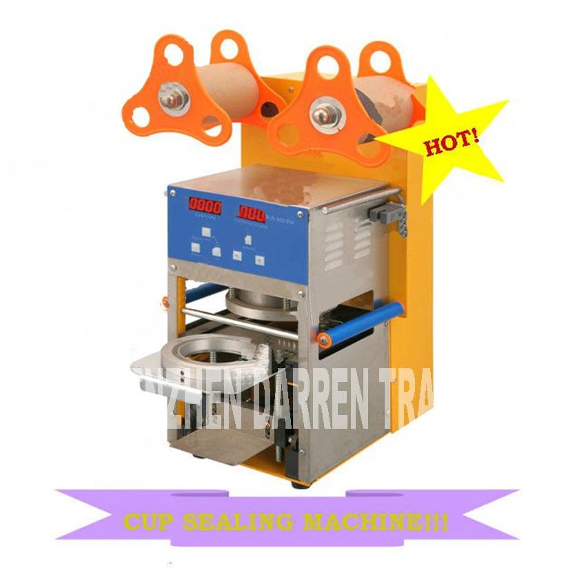 QF08 220V / 110v Digital Automatisk koppförslutningsmaskin av tebubbla för att dricka rostfritt stål