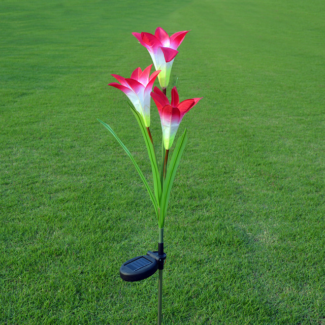 3 Heads solar lantern Flower Lily LED simulation decorative outdoor lawn lamp 3 Flower Lilies Solar Garden Lamp