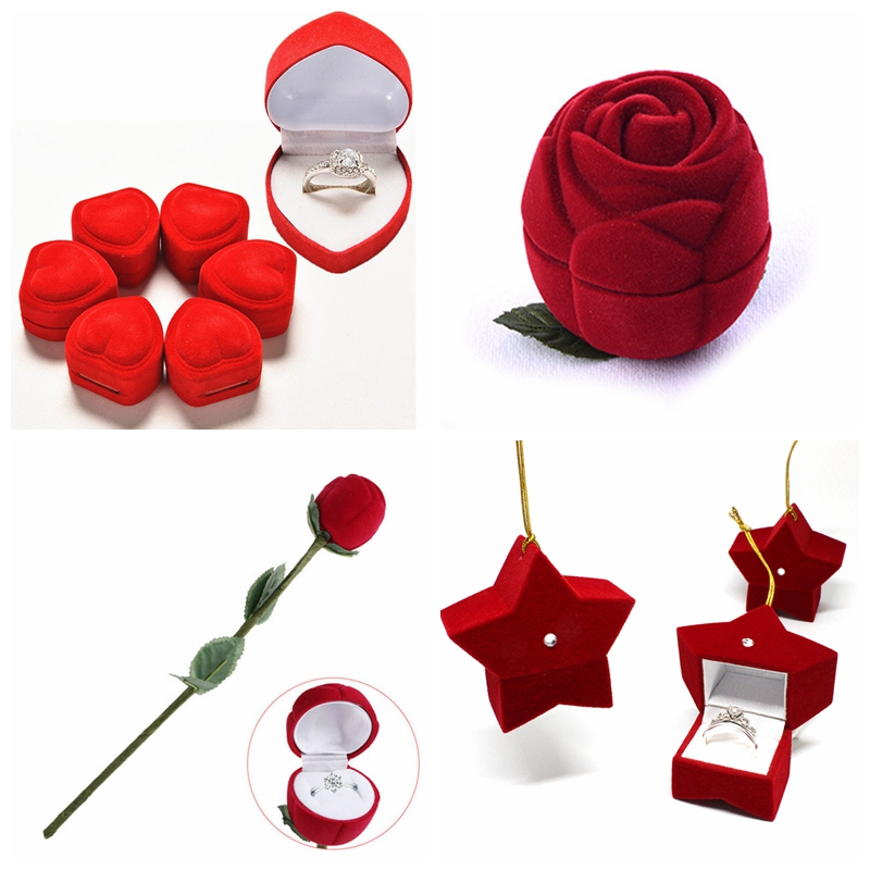 1 Piece Portable 3D Jewelry Box Wedding Ring Gift Case Earrings Storage Display Holder Gift Boxes Red Rose For Earring Rings