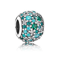 Top Quality 925 Sterling Silver Bead Charm Ocean Mosaic Pave Ball With Crystal Beads Fit Pandora