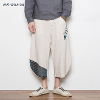 MRDONOO 2018 Summer Bohemia Men Loose Linen Shorts Knee Length Harem Pants Male Bermuda Casual Board Short Pants M 5XL A032 AK