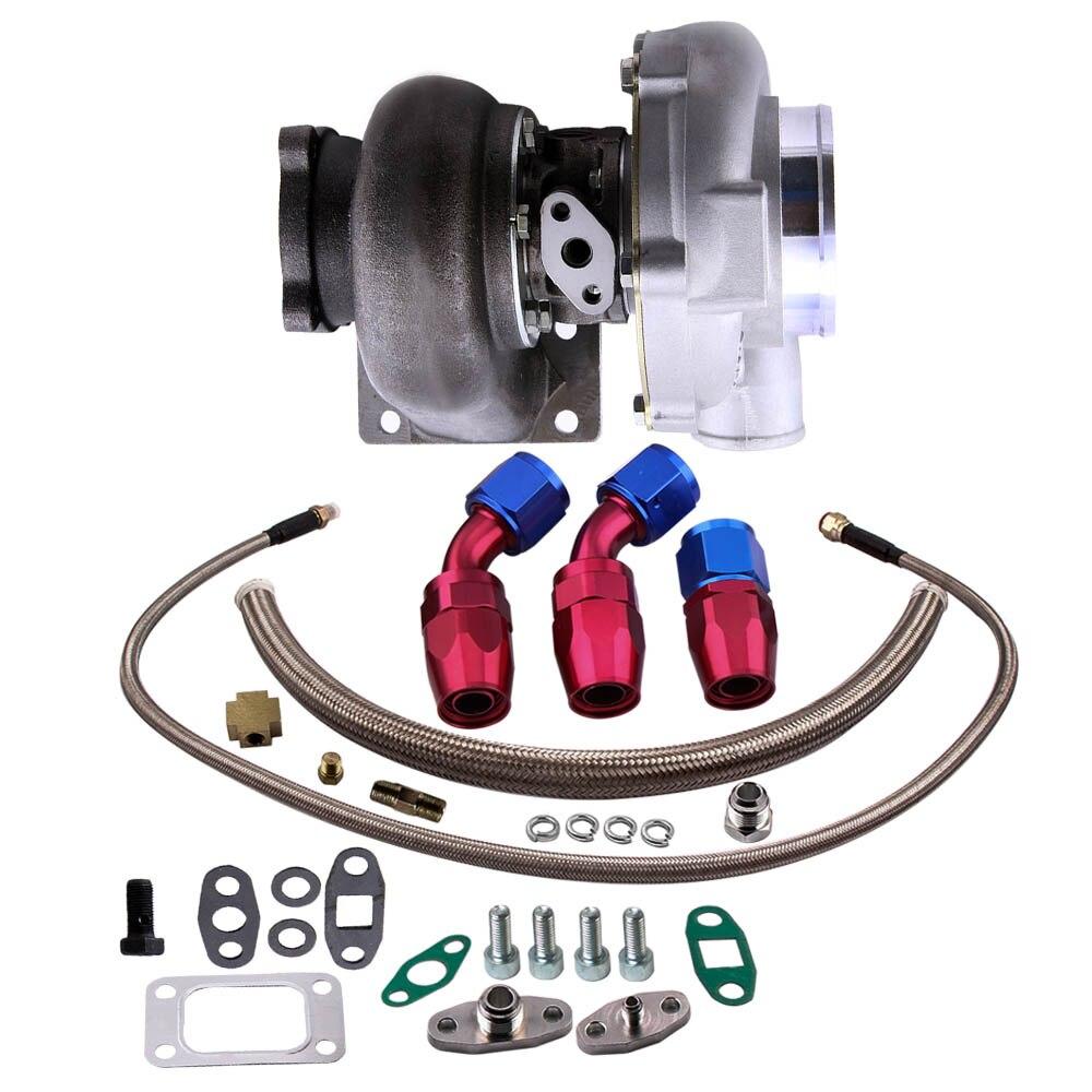 GT3076R GT30 GT3037 Turbocharger 500HP T3 Turbo External Wastegate for Skyline Oil Drain Return Oil FEED Line Kit .82 Housing - 3