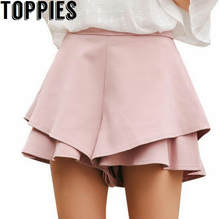 54f6cfafef14 2018 Women High Waist Blommer Shorts Skirt Style Ruffles Shorts Layered Solid  Color Chiffon Shorts 6