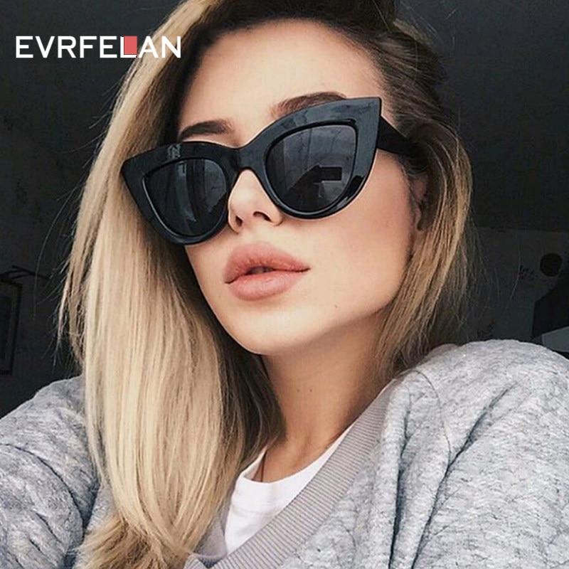Moda Olho de Gato Óculos De Sol Das Mulheres Óculos de Sol Do Vintage  Grande Quadro 425bec6766