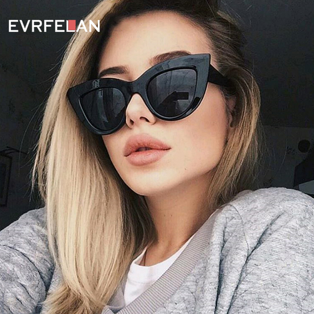 dd0718d7d6 Fashion Cat Eye Sunglasses Women Vintage Sun Glasses Wide Frame Glasses  Brand Designer Sexy Girls Eyewear oculos de sol UV400