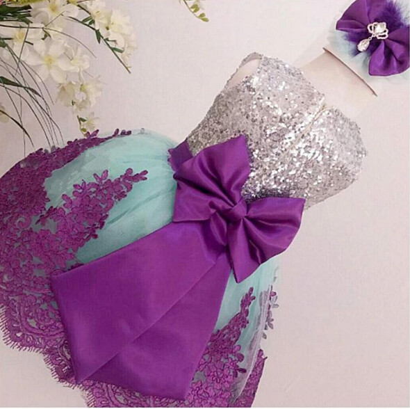 Fluffy Tulle Cute Baby Girls Dresses with Bow Lace Sequins Baby 1 year Birthday Party Gown outfit 2018 Flower Girl Dress lilac tulle open back flower girl dresses with white lace and bow silver sequins kid tutu dress baby birthday party prom gown