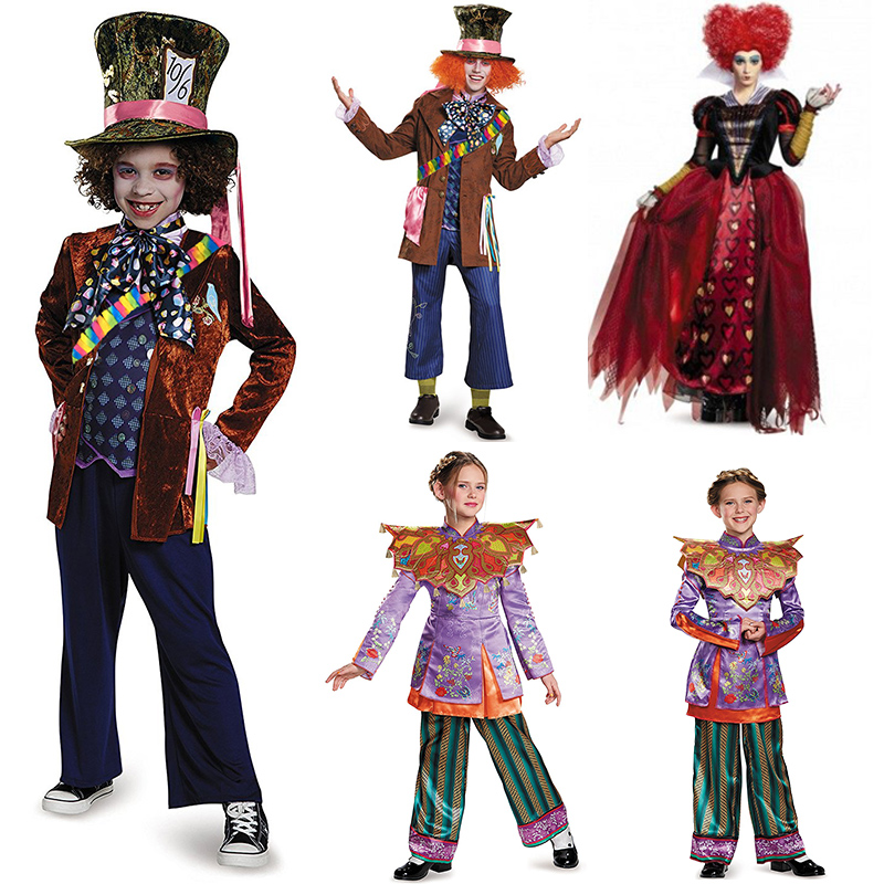 Adult children men the Mad Hatter costume queen of hearts dress purple Alice in Wonderland costume Through the Looking Glass