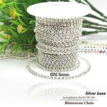 10yards/roll SS6-SS12(2.0mm-3.0mm) clear crystal silver base rhinestone chain jewelry making diy accessories Wedding decoration